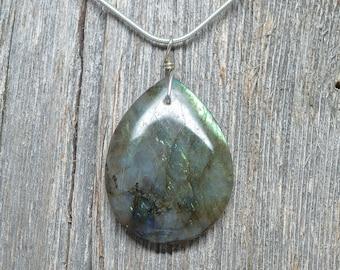 "Labradorite Pendant - Sterling Silver - 1 5/8"" by 1 1/4"""