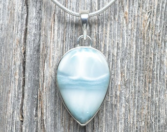 Larimar Pendant - Sterling Silver - 27mm by 18mm