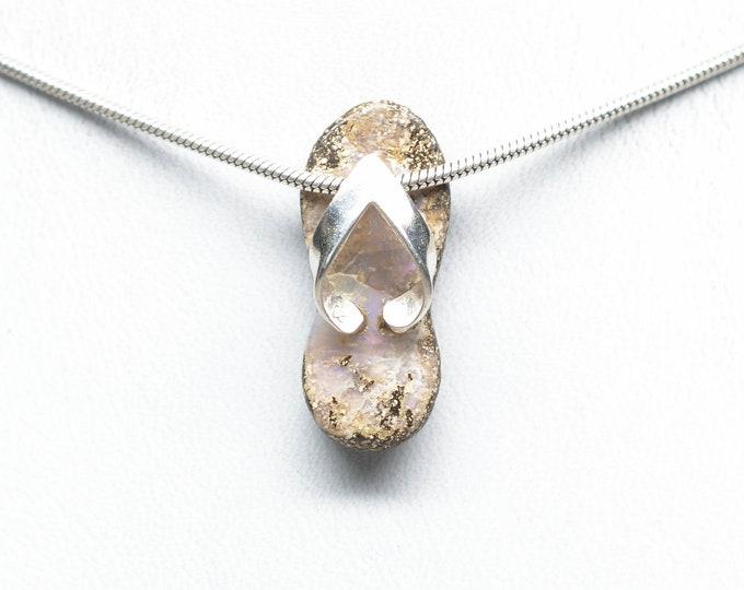 Koroit Boulder Opal Pendant - Sterling Silver - Flipflop - 23mm x 10mm