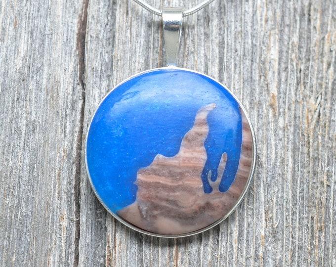 Leelanau Peninsula Pendant - Sterling Silver - Kona Dolomite - Epoxy Resin