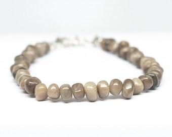 "Petoskey Stone Bracelet - Sterling Silver - Adjustable from 6 3/4"" to 7"""