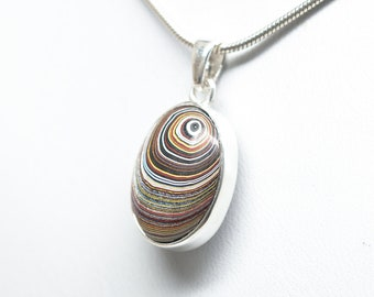 Reversible Petoskey Stone / Fordite Pendant - Sterling Silver
