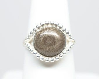 10mm Petoskey Stone Round Sterling Silver Ring - Size 6