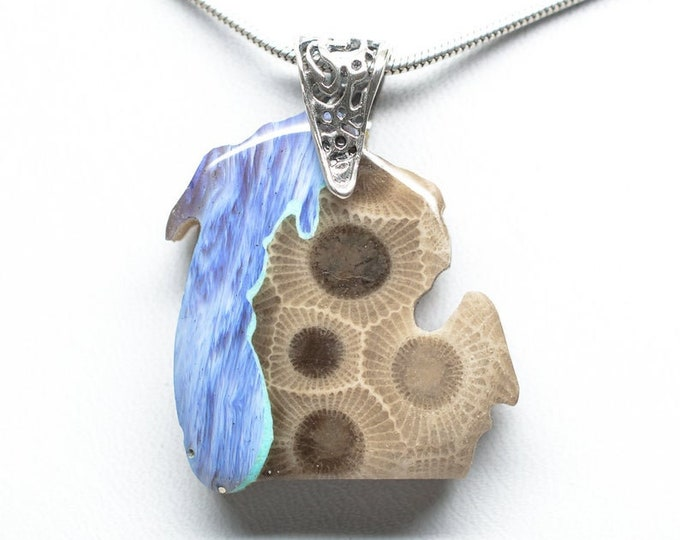 Featured listing image: Michigan Shaped Pendant -Petoskey Stone - Leland Blue - Turquoise - Sterling Silver - Custom Order