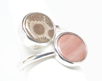 Petoskey Stone and Kona Dolomite Ring - Sterling Silver - Size 6.25