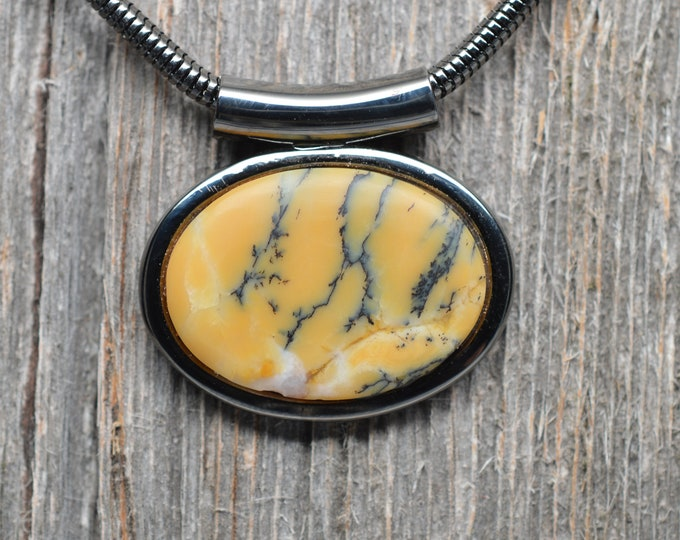 Dendritic Agate Necklace - Gunmetal Plated - Oval - Chain Included