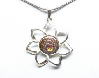 Fordite Sterling Silver Flower Pendant - 12mm Stone