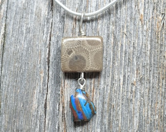 Petoskey Stone Square Shaped Pendant with Micro Rainbow Calsilica Lower Michigan