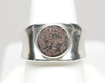 10mm Copper Firebrick Round Sterling Silver Ring - Size 9