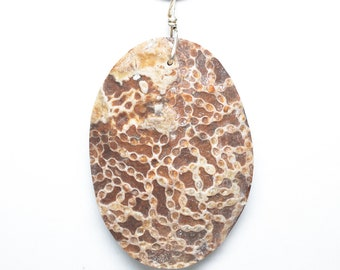 Chain Coral (Halysite) Oval Pendant 48mm x 34mm Stone