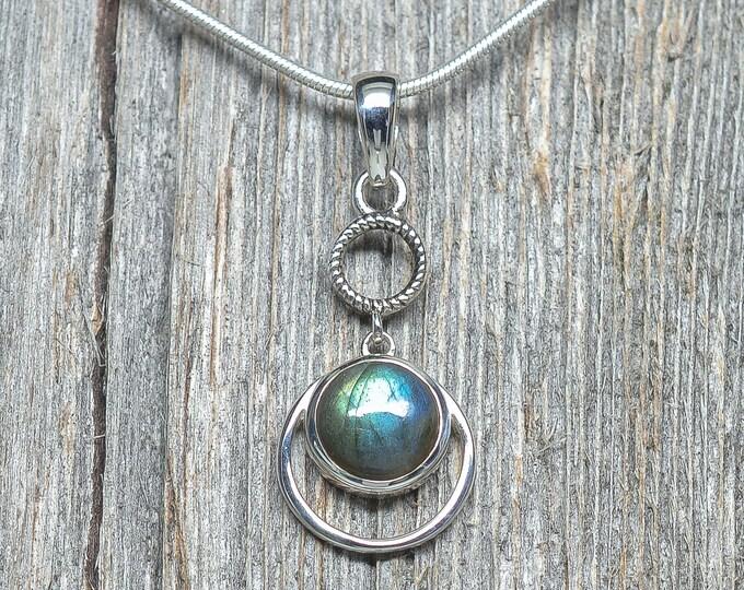 "Labradorite Pendant - Sterling Silver - 1"" by 5/8"""