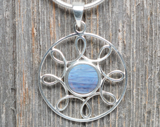 Sterling Silver - Leland Blue - 8mm - Swirled Circle Pendant