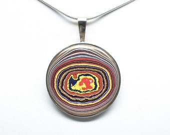 Fordite Pendant - Sterling Silver - 30 mm Round