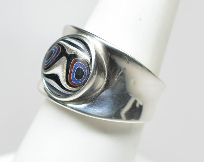 Fordite Sterling Silver Ring - Size 7