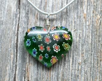 Flower Power Glass Pendant - Heart
