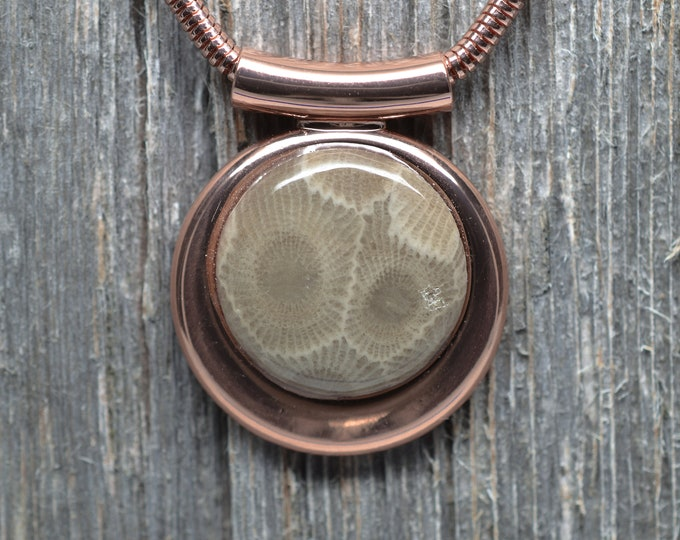 Fancy Petoskey Stone Pendant - Copper Plated - Chain Included
