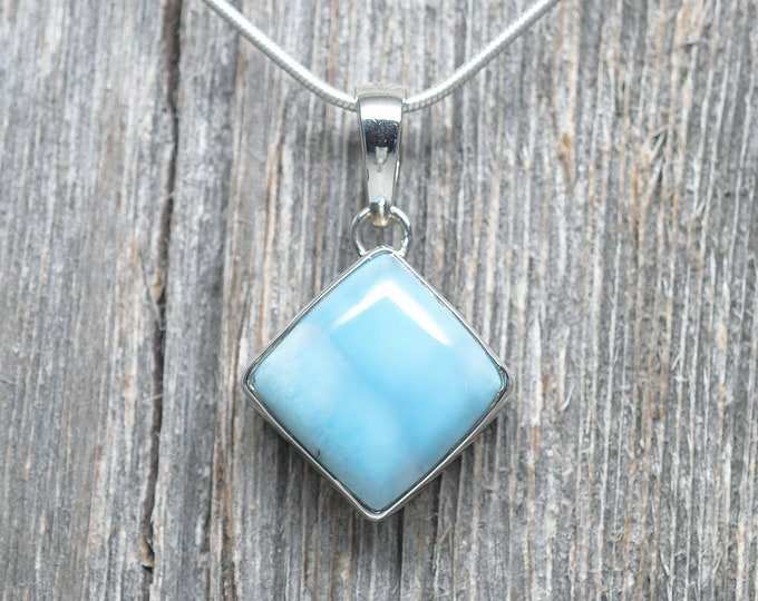 Larimar Pendant - Sterling Silver - 23mm by 23mm