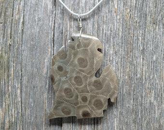 Michigan Shaped Petoskey Stone Pendant - Lower Peninsula