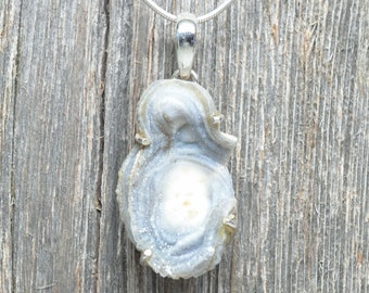 Chalcedony Rose Pendant - Sterling Silver - 40mm by 25mm