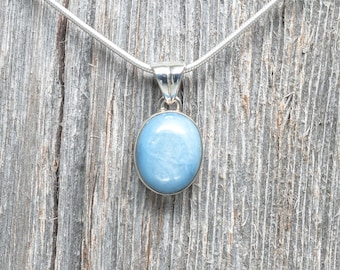 Aquamarine Pendant - Sterling Silver - 16mm by 13mm