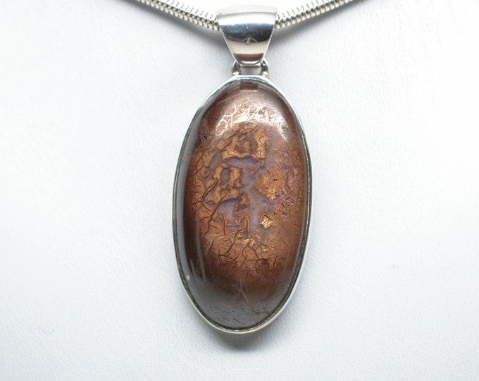 Koroit Boulder Opal Pendant - Sterling Silver - 41mm x 22mm