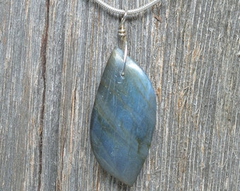 "Labradorite Pendant - Sterling Silver - 1 3/4"" by 3/4"""