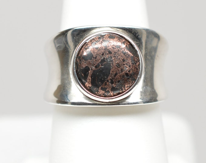 10mm Copper Firebrick Round Sterling Silver Ring - Size 7