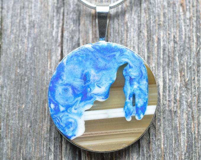 Leelanau Peninsula Pendant - Sterling Silver - Agate - Epoxy Resin