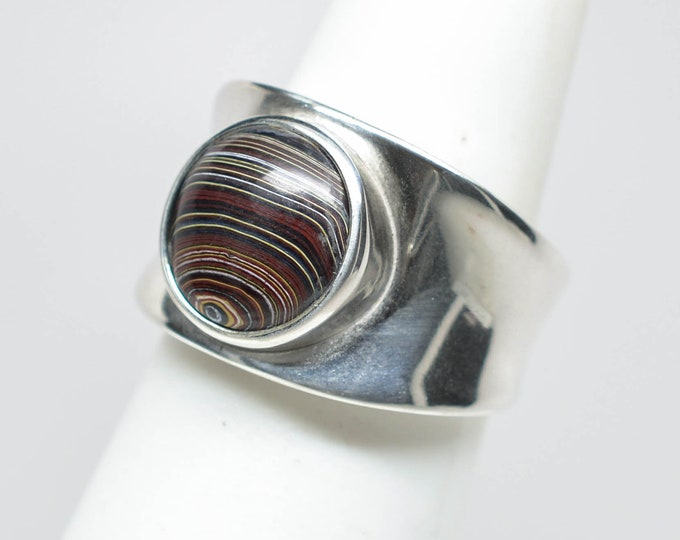 Fordite Sterling Silver Ring - Size 6