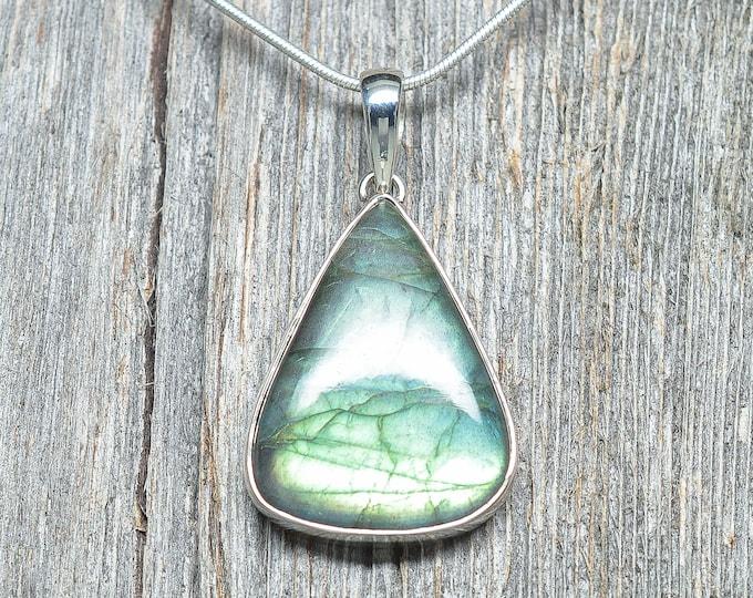 "Labradorite Pendant - Sterling Silver - 1 3/8"" by 1"""