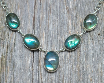 """Labradorite Pendant - Sterling Silver - Adjustable from 16"""" to 18"""""""