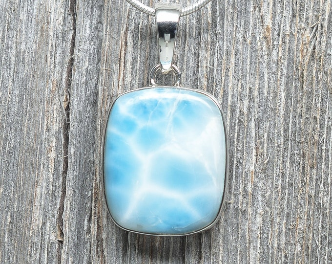 Larimar Pendant - Sterling Silver - 25mm by 22mm