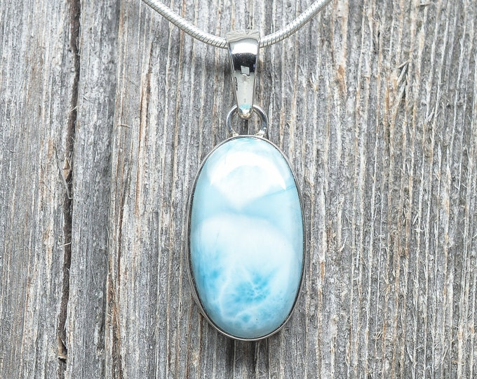 Larimar Pendant - Sterling Silver - Oval - 26mm by 15mm