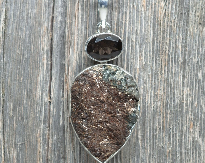 Astrophyllite Pendant - Smokey Quartz - Sterling Silver - 50mm by 25mm