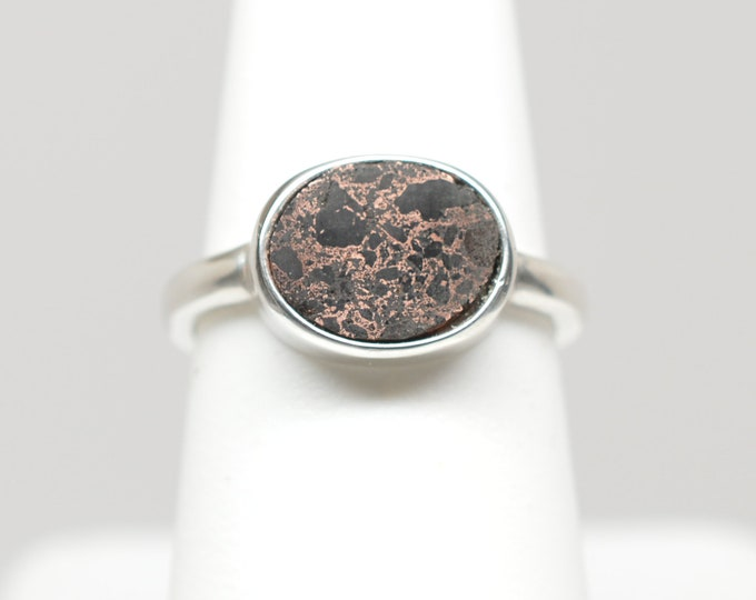 Copper Firebrick Oval Sterling Silver Ring - 8mm x 10mm  - Size 6