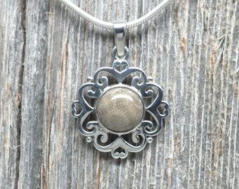 Petoskey Stone Pendant - Sterling Silver - 10mm Stone