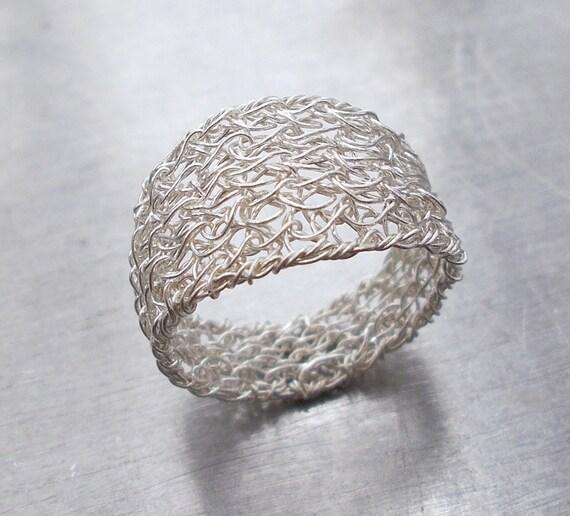 Sterling Silber Draht Band Ring Draht Häkelring moderne | Etsy