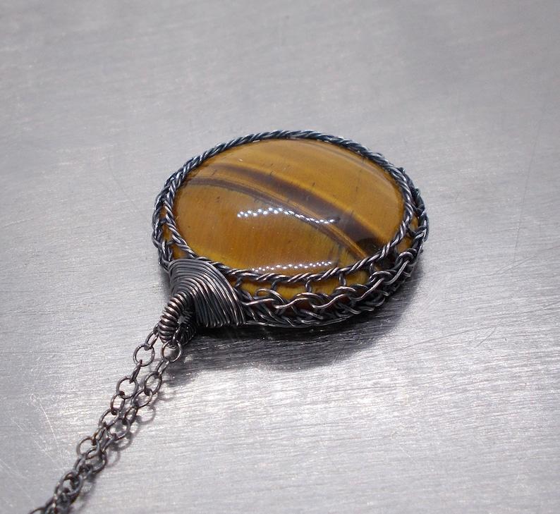Fine Silver Wire Crochet Pendant Tiger Eye Oxidized Silver Necklace