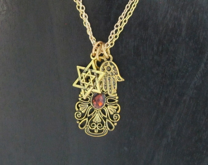 Jewish Symbols Hamsa and Magen David Charms Double Chain Necklace NC-0025 Gold Plated Pendant
