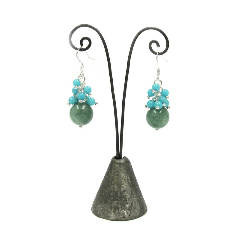 Green Jade and Amazonite Beads Cluster Sterling Silver Earrings ER-0228