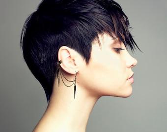 Gunmetal Ear Cuff, Ear Cuff Earrings, Spike Charm Earrings,  Gunmetal Spike Earrings, Spike Earrings, Spike Dangle Earrings, ER-0096