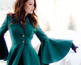 Long Coat,  Maxi Large Sleeves Winter Pleated Jacket For Women | Ligia 2