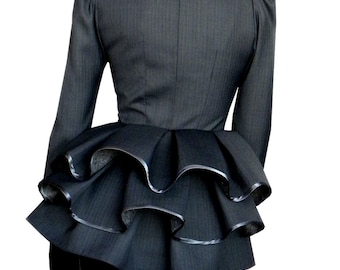 Ruffle Collar Blazer, Office Jacket, Ruffle Back, Two Buttons, For Women, Made To Order | Sabrine
