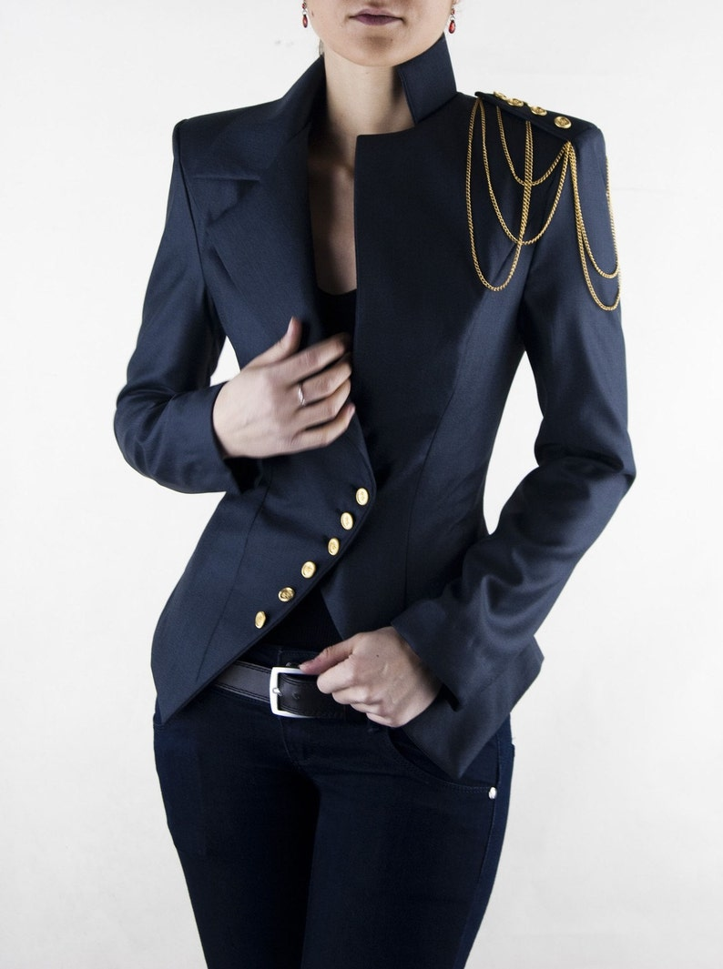 2d57678db6 Asymmetrical Blazer Women s Jacket Office Suit Shoulder