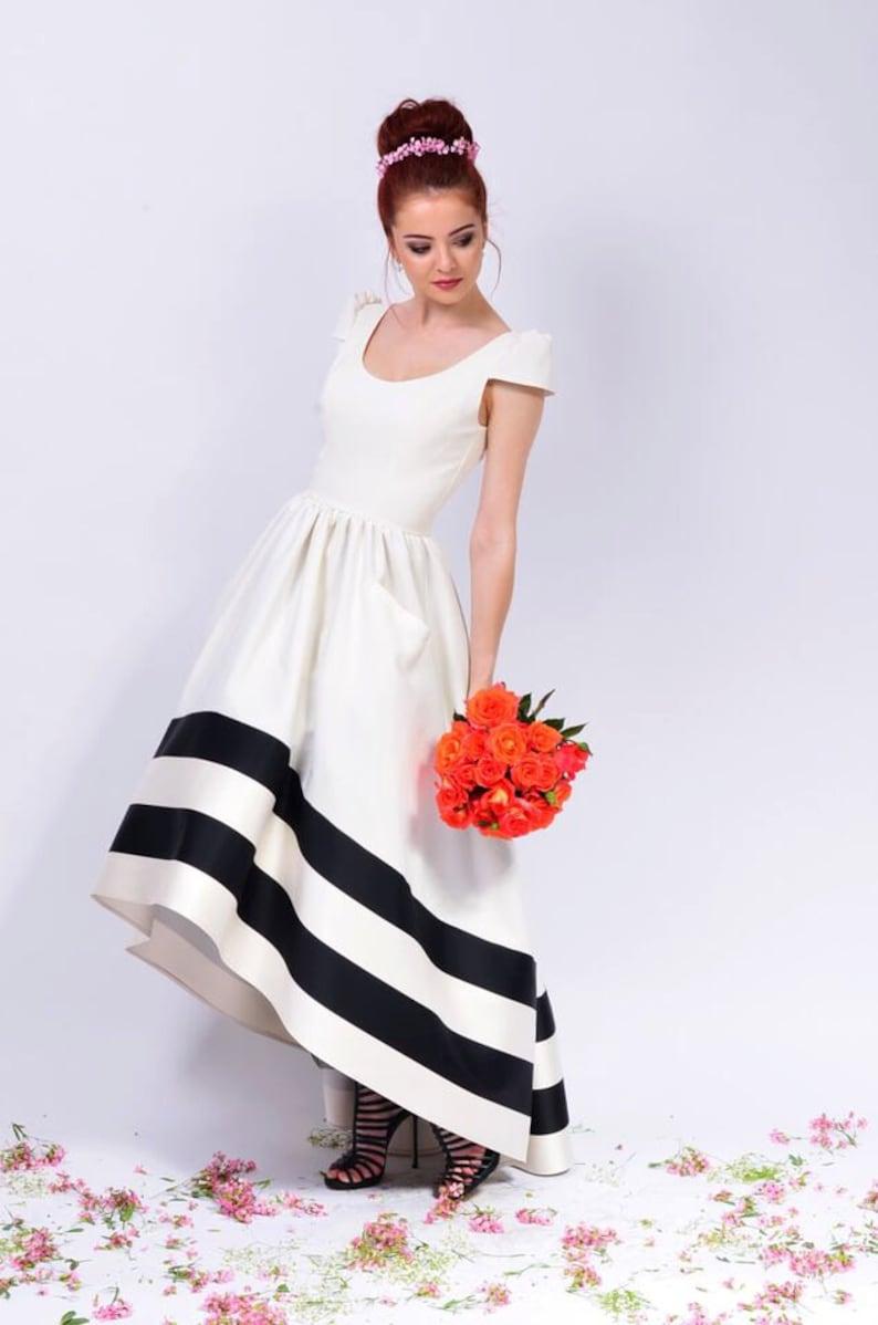 Scoop Long Asymmetric Dress High Low Short Sleeves U Neck image 0