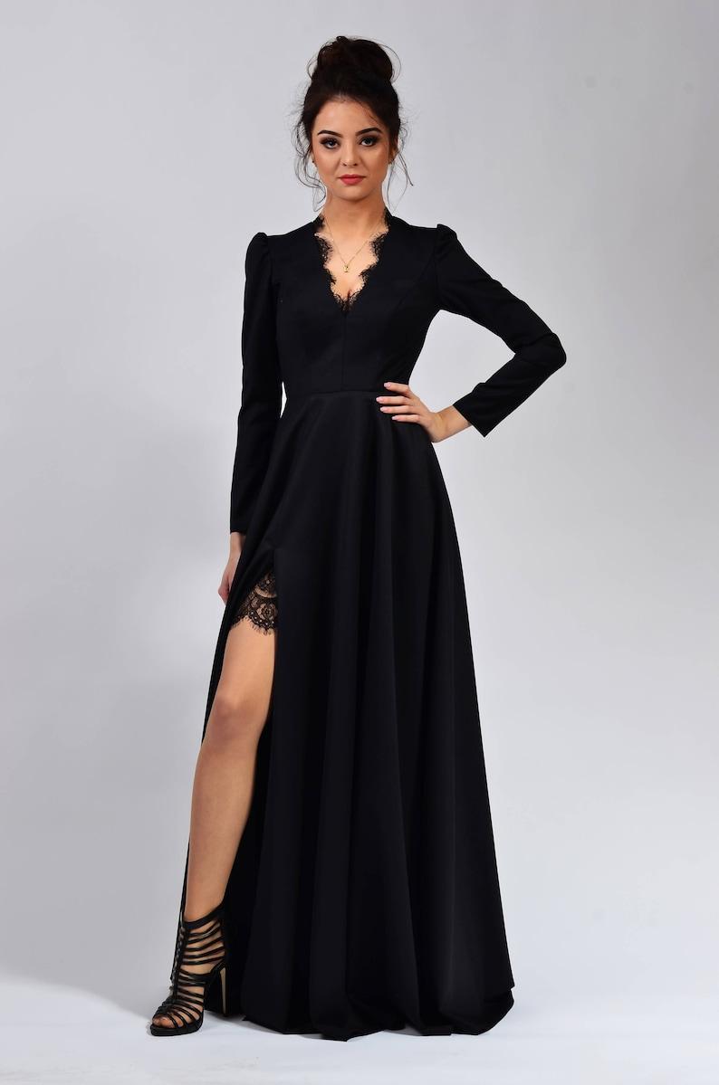 V langeEtsy hohen Ausschnitt Bein mit mit Kleid Schlitz Langes dBoxerC