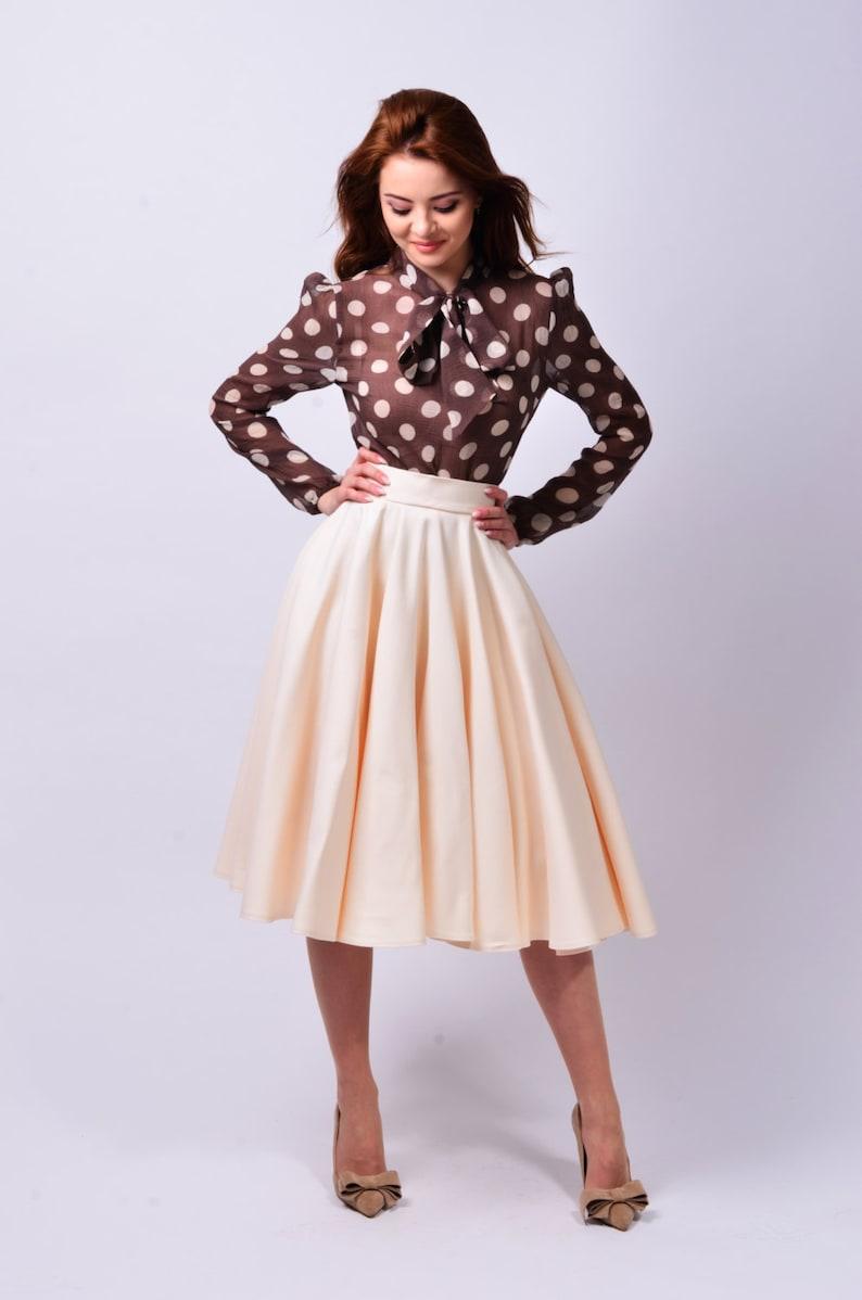 High Waisted Circle Adina Gift For Her Midi Skirt Swing Bridesmaid