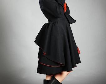 Midi Wrap Coat, Faux Fur Collar Winter Pleated Warm Jacket For Women | Gaia