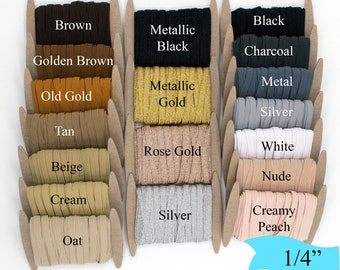 Quick Ship from USA Face Mask Elastic 18 inch LATTE BROWN Elastic Skinny Elastic by the Yard Skinny 3mm Elastic 3mm