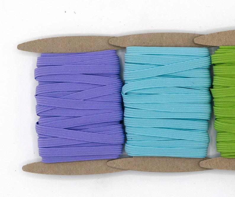 PASTELS Color Set 14 inch Colored Skinny Elastic by the YARD Skinny Elastic 6mm Elastic Quick Ship from USA Face Mask Elastic